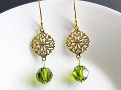 Gold filigree chandelier earrings, green earrings,1-3/4 inches, vermeil ear wires, filigree earrings,dangling earrings,gold vermeil earrings