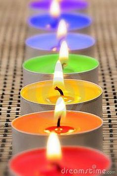 Rainbow Tealight Candles!! Love these, just wish they were scented! ♥ ♥ ♥ Tea Lights, Pandora Jewelry, Colours, Candles, Yellow, Image, Google, Green, Pink