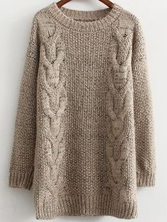 Cable Knit Fuzzy Coffee Sweater