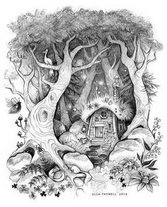 "Illustration I did for a Finnish storybook called ""Kissa Kiiskinen sankarina ja muita satuja"" written by Pertti Pietarinen and  published by Aurinko, 2014.   #illustrationartists #illustration #childrensbooks #magical #forest #enchantedforest #pencil #graphite #art #drawing #kuvittaja #kuvitus #lastenkirja #trees #cottage #fantasyillustration #fairytaleart #metsä #storybookillustrator"