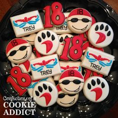 Confections of a Cookie Addict specializes in custom cookies for any occasion. Speciatly cookies handmade in Durham, NC Swimming Cupcakes, Swimming Cake, Beach Cupcakes, Royal Icing Sugar, Sugar Cookie Frosting, Royal Icing Cookies, Kids Sports Party, Sports Food, Cute Cookies