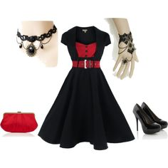 """""""Black and red 1950's dress """"Gothed"""" out"""" by louzannalady on Polyvore"""