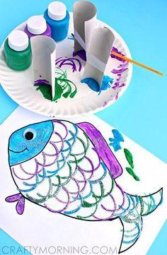 Make Fish Scales Using Toilet Paper Rolls (Kids Craft) + Free Printable