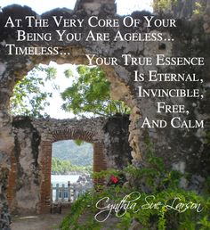 """""""At the very core of your being you are ageless... timeless... your true essence is eternal, invincible, free, and calm"""" - Cynthia Sue Larson, Aura Healing Meditations"""