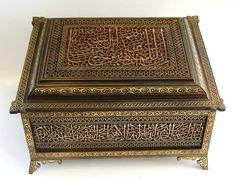 Islamic Antiques brass box with Arabic calligraphy (ebay)