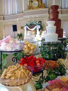 Trendy Ideas For Fruit Bar Ideas Buffet Wedding Reception Chocolate Fountains - Fruit Party - Chocolate Fountain Recipes, Chocolate Fountains, Croquembouche, Dessert Bars, Dessert Table, Chocolates, Macarons, Sushi, Reception Food