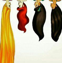 Love all the Disney princesses hair