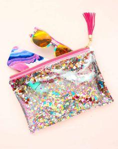DIY: confetti zip pouch