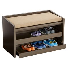 Add some more utility to your entryway with our beautiful and useful Mercer Storage Bench. This piece has a well padded cushion for you to sit and lace, and when your shoes and socks aren't in use, you can roll out its two shelves to store them out of sight!