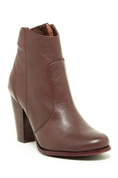 """Dalton Leather Bootie by Joie on @nordstrom_rack   $189.97/$365.00 48% Off  - Round toe - Leather construction - Topstitching - Side zip closure - Dust bag included - Approx. 4"""" shaft height, 10"""" opening circumference - Approx. 3.5"""" heel - Imported"""