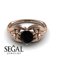 Rose Gold Engagement Ring by Segal Jewelry Elegant Engagement Rings, Round Diamond Engagement Rings, Antique Engagement Rings, Gold Wedding, Wedding Rings, Popular, Flower, Blue Sapphire, Jewelry