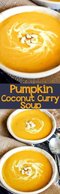 Pumpkin Coconut Curry Soup is the perfect fall comfort food. The subtle Thai flavors blend into pumpkin soup for the most delicious combination.