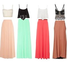 Crop top and maxi skirts