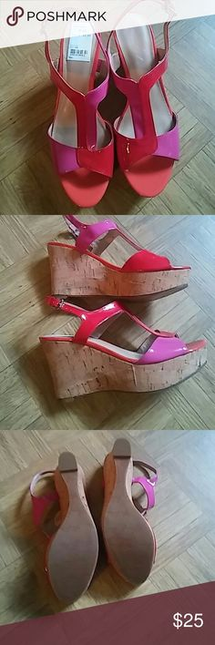 Marc Fisher NWT WEDGES VERY NICE PINK RED &TAN Marc Fisher Shoes Wedges