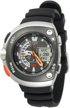 Citizen Men's JV0030-01E Eco-Drive 20th Anniversary Aqualand Black Imperial Dive Watch Citizen. $468.75. Current depth display in digital format up to 300 ft; measures depth and time of dive; dive log memory for up to 20 dives; auto-start dive mode; water-temperature sensor. Light powered Eco-Drive Caliber U100 Japanese-quartz movement; charges in natural sunlight or indoor light. Water-resistant to 660 feet (200 M). Stainless-steel case; black dial; day-date-and month functions;...