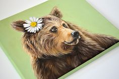 Grizzly bear giclée print on canvas. Bear wrapped by MimoCadeaux, $60.00