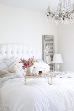 Contemporary Master Bedroom with Shades of light vieux quartier crystal chandelier, Pottery barn pb essential duvet cover