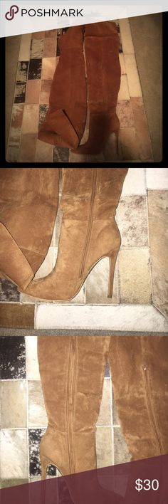 NEW SOFT FAUX CAMEL THIGH BOOTS!FOLD DOWN/or NOT! THIGH HIGH SEXY BOOTS! NEVER WORN! Shoes Over the Knee Boots