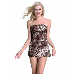 Sexy Lingerie Nightwear Leopard Print Dress Sleeveless Sensual Nightgowns for Women * You can find more details by visiting the image link. Amazon Affiliate Program's Ads.