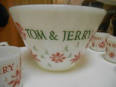 1940's Fire King Tom and Jerry set Christmas punch bow. 8 cups