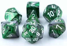 RPG Dice Set (Gemini Green and Silver) role playing game dice + bag