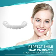 Each person on this planet owns a different set of teeth, that is why we will introduce you to a product that can give that IDEAL SMILE to every person, regardless what kind of teeth they have. Introducing the PERFECT SMILE SNAP ON BRACES. Perfect Smile Teeth, Types Of Braces, Veneers Teeth, Teeth Braces, Fake Braces, Braces Smile, Dental Braces, Teeth Shape, Stained Teeth