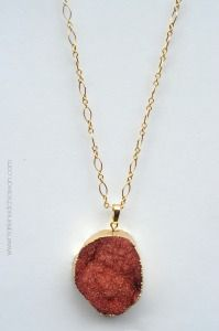 Red Agate Druzy Necklace - MDC Artistic Designs. Get ready for the holidays with this lucious red agate druzy crystal quartz necklace. An elegant piece and statement piece like no other to show off during all the holiday festivities and beyond. I have paired it with a 30 inch gold filled chain.