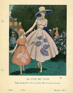 La Fete est Finie | Robe d'organdi et robe de petite fille, de Jeanne Lanvin    Illustrator: Brissaud, Pierre    Designer: Lanvin, Jeanne, 1867-1946    Date: May 1920
