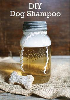 DIY Natural Dog Shampoo - Gimme Some Style - homemade dog shampoo without glycerin. Lemon Shampoo For Dogs Diy Dry Shampoo, Homemade Dog Shampoo, Natural Dog Shampoo, Puppy Shampoo, Flea Shampoo, Organic Shampoo, No Yellow Shampoo, Cleaners Homemade, Pet Treats
