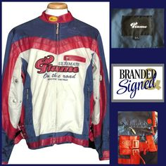 Jacket Bomber Biker cafe Racer LArge Flame Motorcycle Red White Blue Buckles #Flame #Bomber Mens Leisure Wear, Navy Blue Bomber Jacket, Motorcycle Jacket, Biker, Cafe Racer Jacket, Red White Blue, Pose, Leather Jacket, Casual
