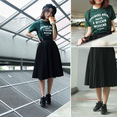 Get this look: More looks by Steph Leong: lb.nu/… Items i… Summer Trends Black Pleated Skirt Outfit, Pleated Skirts Knee Length, Skirt Outfits, Dress Skirt, Accordian Skirt, Skirt Fashion, Fashion Outfits, Fasion, Beret Outfit