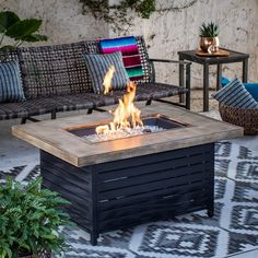 Bowl Depth: 3 in. Includes fire table, fire glass, fire pit cover, and natural gas orifice Aluminum top with driftwood finish and gray plank-style base Propane or natural gas fuel; Pergola Patio, Backyard Patio, Pergola Ideas, Backyard Ideas, Pergola Plans, Patio Ideas, Small Pergola, Pergola Kits, Backyard Landscaping