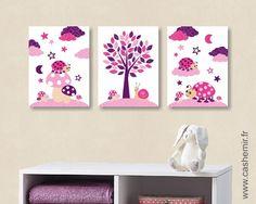 Affiche pour chambre d'enfant et bébé fille coccinelle nuage rose violet réf.92 : Chambre d'enfant, de bébé par cashemir
