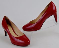 Cole Haan Nike Air Women's Size 7 M Red Patent Leather Platform Heels #ColeHaan #PlatformsWedges #WeartoWork