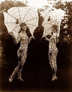what the??? spider girls, vintage, photography, fashion, costume, Halloween