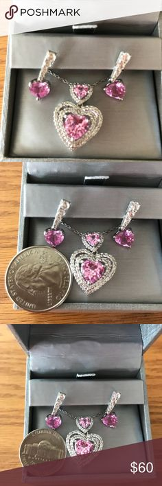 Absolute FIRM. On sale until May 1st. Zales necklace and earring set. Stamped 925.  All items in my closet are listed low. No bargaining needed. Makes it easy from the start. Never worn. Zales Jewelry Necklaces