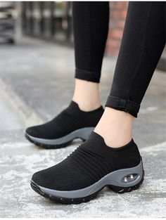 Shoes flat slip-on platform black breathable mesh sneakers - TopFashionova - Fashion Women Shoes & Sneakers - Shoes Wedge Sneakers, All Black Sneakers, Shoes Sneakers, Women's Shoes, Platform Sneakers, Sneakers Women, Fall Shoes, Spring Shoes, Turf Shoes