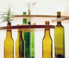 Save wine bottles, make your own tables. Tables double as serving trays!