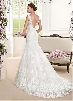 Glamorous Tulle & Satin Scoop Neckline Mermaid Wedding Dresses With Lace Appliques