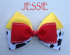 Up for your consideration is a custom made jessie hair bow. The bow measures 5 inches wide and 3 inches tall. I will attach whichever clip you Ribbon Hair Bows, Diy Ribbon, Ribbon Crafts, Ribbon Flower, Hair Bow Tutorial, Fabric Flower Tutorial, Fabric Flowers, Broches Disney, Disney Hair Bows