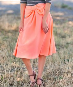 This Neon Coral Bow Brighley Midi Skirt by White Plum is perfect! #zulilyfinds