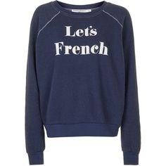 Lets French Sweatshirt by Project Social T ($43) ❤ liked on Polyvore featuring tops, hoodies, sweatshirts, washed blue, print top, patterned sweatshirt, print sweatshirt, blue sweatshirt and pattern tops