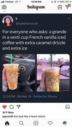 Starbucks drinks to try! Secret Starbucks Drinks, Starbucks Secret Menu Drinks, Starbucks Hacks, Starbucks Vanilla Iced Coffee, Healthy Starbucks Drinks, Iced Coffee Drinks, Smoothies, Smoothie Drinks, How To Order Starbucks