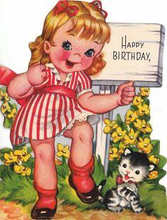 Vintage 1950s Happy Birthday Greetings Card by poshtottydesignz, $2.45