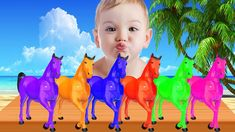 FUNNY BABY LAUGHING to Learn Colors with Colorful Horse | Colors Learnin...