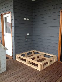 So we had this funny corner out on our back deck...           that we decided to build somewhere to sit/lie.          Here'show we d...