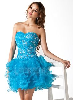 A-Line Princess Sweetheart Short Mini Organza Homecoming Dress With Lace  Beading Sequins Cascading Ruffles e91cf6ad2