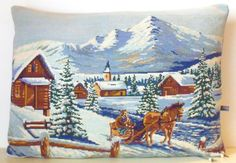 Unique Needlepoint Tapestry Mountain Chalet by Retrocollects