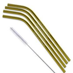 Copper and Gold Stainless Steel Straw (Qty 4) Stainless Steel Straws, Corporate Gifts, Drinkware, Clothes Hanger, Copper, Gold, Coat Hanger, Tumbler, Promotional Giveaways