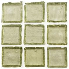 "Creative Decore  1"" x 1"" Translucent, 1"" x 1"", Light Olive, Glossy, Green, Glass"